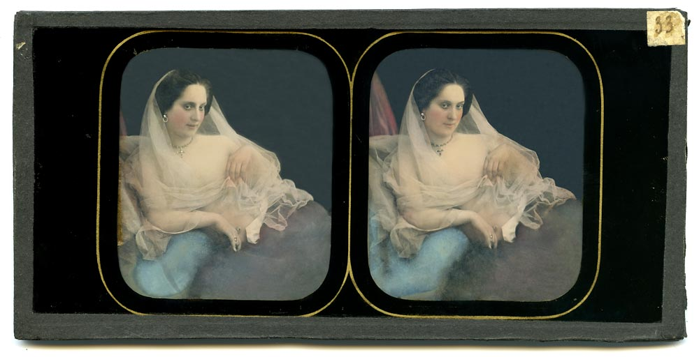 Stereo daguerreotype portrait of a woman in with a veil
