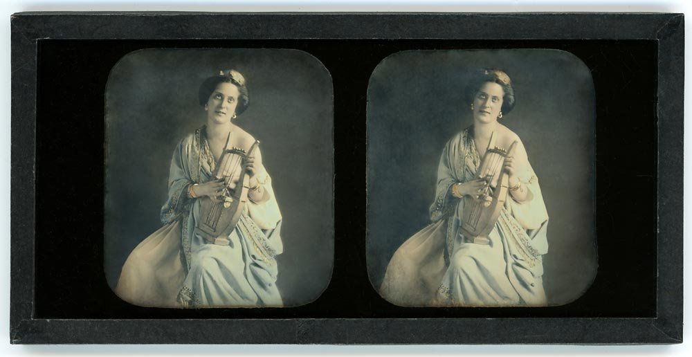 Stereo daguerreotype of a woman dressed as a Greek goddess