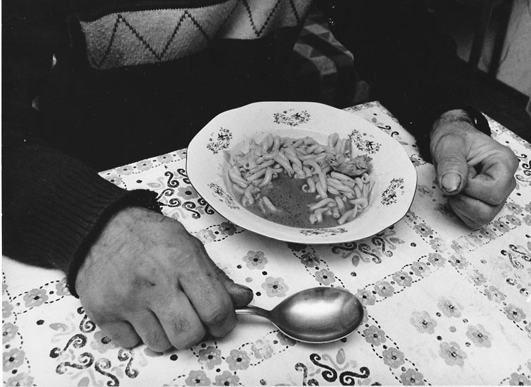 Gelatin silver print of a plate of pasta