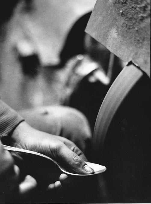 Gelatin silver print of manufacturing a spoon