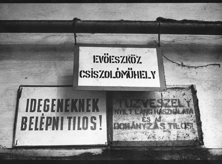 Gelatin silver print of signs in Hungarian