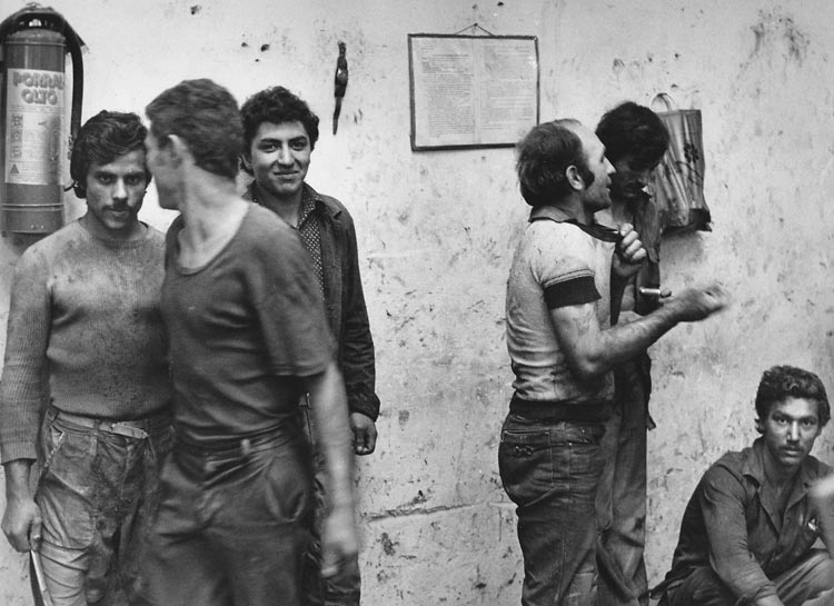 Gelatin silver print of a group of Roma factory workers