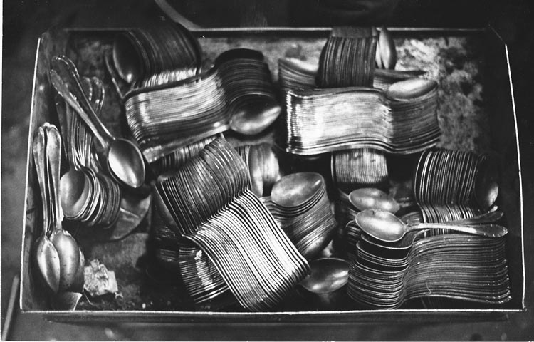 Gelatin silver print of spoons in a box