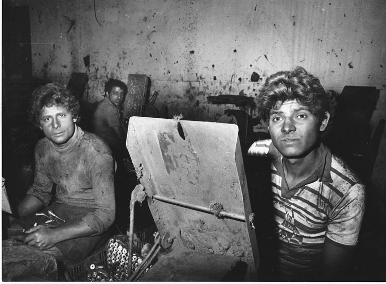 Gelatin silver print of Roma factory workers