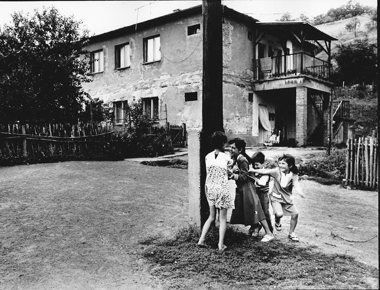 Gelatin silver print of Roma children playing