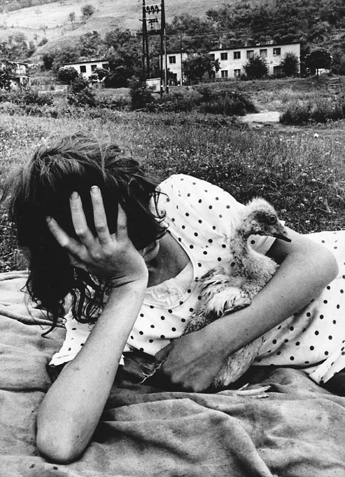 Gelatin silver print of Roma girl with gosling