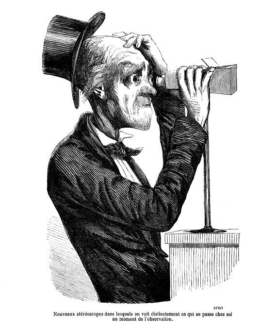 Newspaper illustration of a man looking into a vintage stereoscope