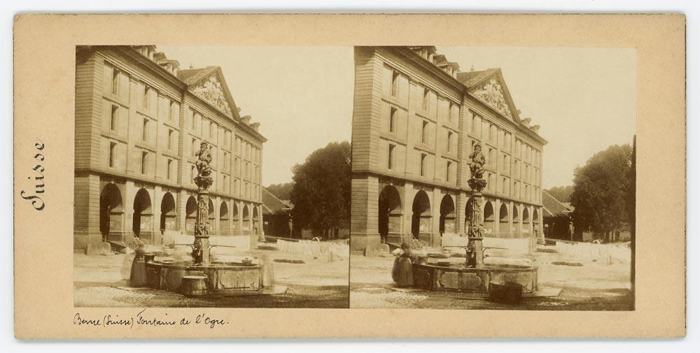 Vintage stereoscopic albumen print on card showing fountain in Bern Switzerland