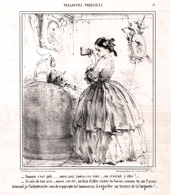 Newspaper illustration of woman using vintage stereoscope viewer