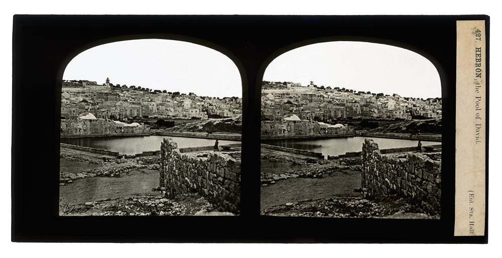 Vintage stereo view of The Pool of David in Hebron Palestine