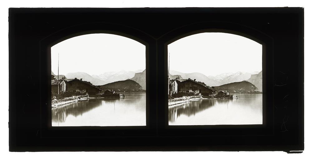Vintage stereo view of Lake Brienz Switzerland