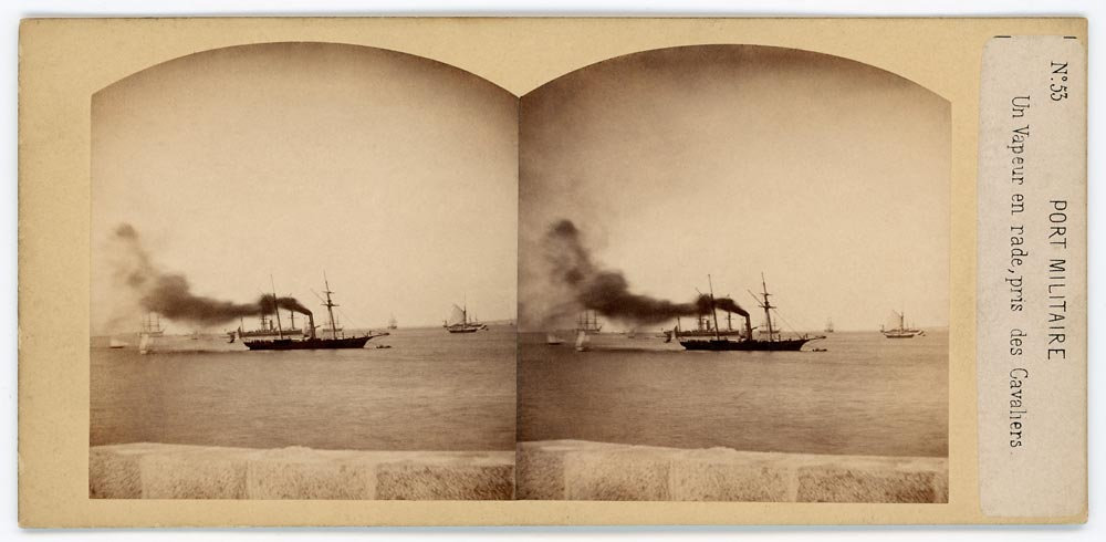 Vintage stereo view of a steamer ship with smoke