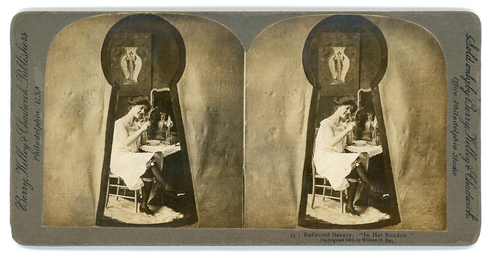 Vintage stereo view of a woman in her bedroom seen through a keyhole