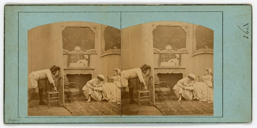 Vintage stereoview of man spying on two women