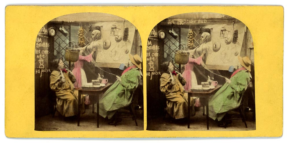 Vintage hand coloured stereo view of a haunted scene in an English pub